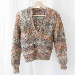 Vintage Crop Sweater - Multi-Color Stripe